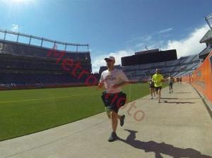 Running inside Mile High Stadium